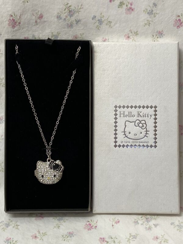 Sanrio Hello Kitty Face Diecut Locket Necklace With Black Bow