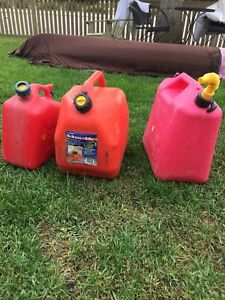All three Gas cans