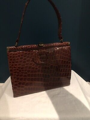 VINTAGE 1950'S  BROWN Crocodile LEATHER 'KELLY' HANDBAG WITH Structured FRAME