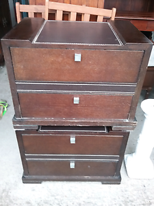 Beautiful set of timber draws with leather tops $45 pair Cessnock Cessnock Area Preview