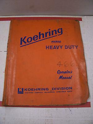 Koehring 466 Operators Owners Manual Catalog Hydraulic Hoe Excavator 1968