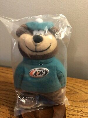 "VINTAGE 1997 A&W ROOT BEER 6"" MASCOT BEAR IN GREEN OUTFIT NEW IN PACKAGE"
