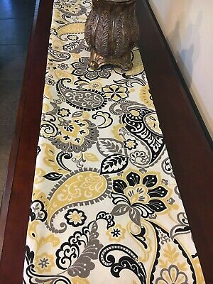 Ivory Table Runner (Pretty yellow, black, ivory Table Runner. Floral on ivory background.)