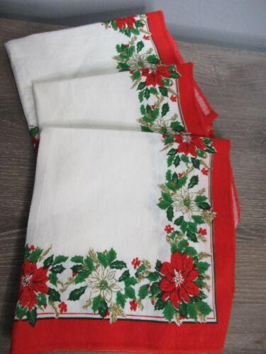 Set Of 3 Vintage Christmas Cloth Napkins Poinsettia White Red Border Blend