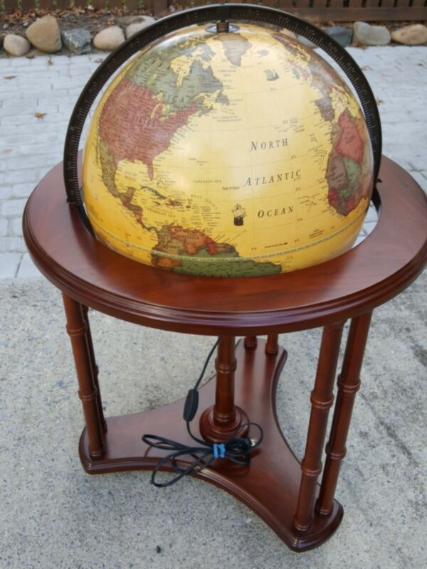 """George F Cram Classica World Globe 16"""" / Lighted / Wood Stand on Casters"""