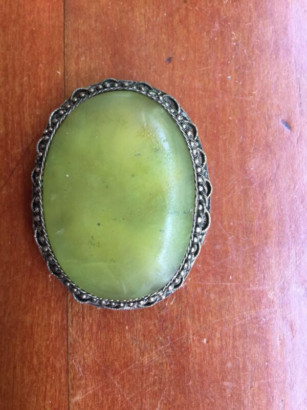 Fine Antique  Chinese Export Green Jade & Silver Clip Brooch