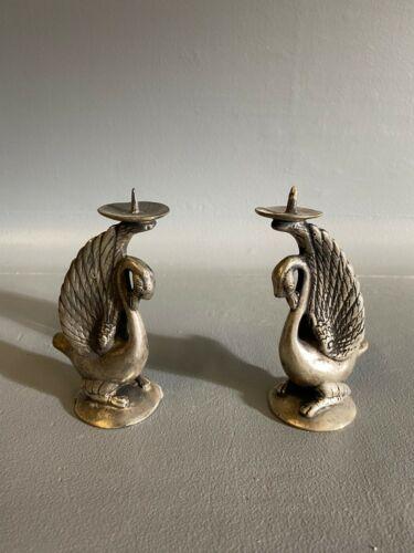 Metal Swan Candle Holders