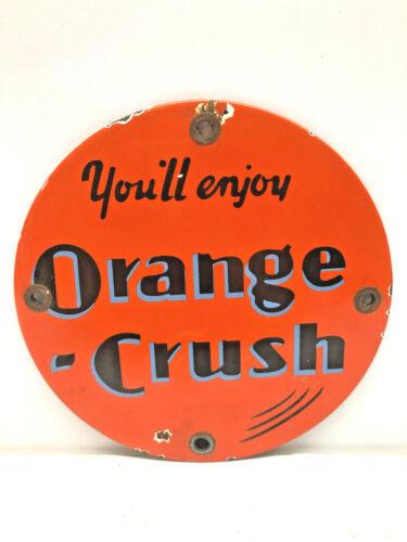 """Vintage Round 5"""" Porcelain Orange Crush Soda Door Push Pull Enamel Metal Sign"""