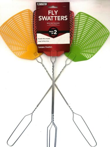 1 PACK of 2 FLY SWATTER Eliminator WIRE HANDLE LIGHT WEIGHT ASSORTED COLORS