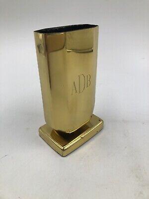 Vtg Office Desk Pencil Pen Cup Holder Gold Plastic Organizer Engraved Adb