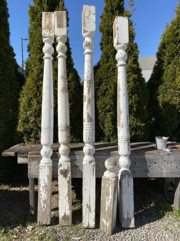 "2 Old Porch Posts, Half & Newel Post Included, 95""~ 101""H, Heavy & Usable"