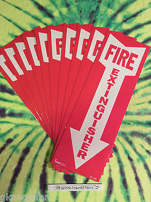 Lot Of 10 Self-adhesive Vinyl Fire Extinguisher Arrow Signs...4 X 12 New
