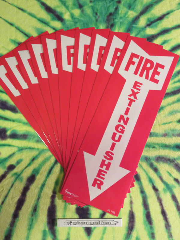"""(LOT OF 10) SELF-ADHESIVE VINYL """"FIRE EXTINGUISHER ARROW"""" SIGN"""