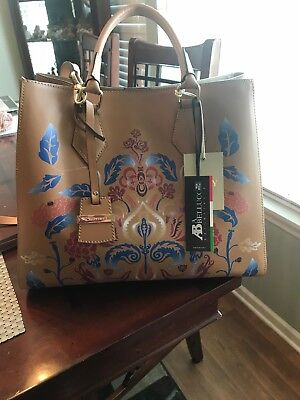 A Bellucci Italy Leather Tan Floral Tote Crossbody Shoulder Handbag