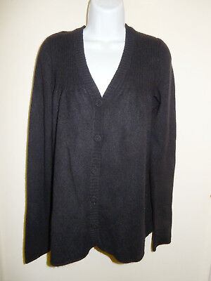 VINCE 100% CASHMERE BLACK V-NECK RIBBED KNIT AT THE TOP CARDIGAN SWEATER M/L