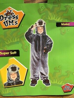 Kids' Safari Zipper Up soft Monkey Costume With Tail size XL 7-8 toddler NEW (Monkey Soft Kostüme)