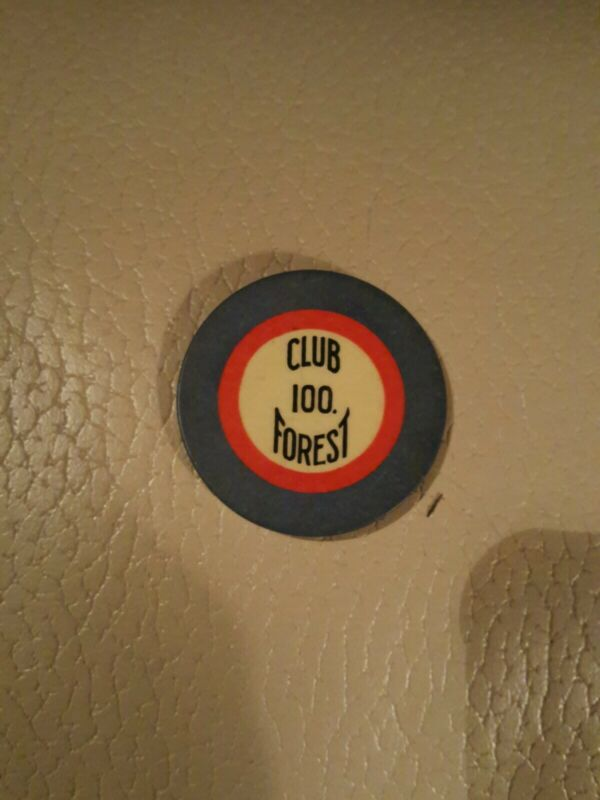 Old $100 CLUB FOREST Illegal Casino Poker Chip Vintage New Orleans LA NOLA Blue
