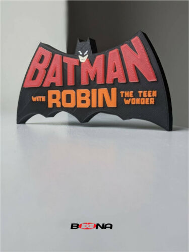 Decorative THE BATMAN WITH ROBIN self standing logo display (Bronze age 70-83)