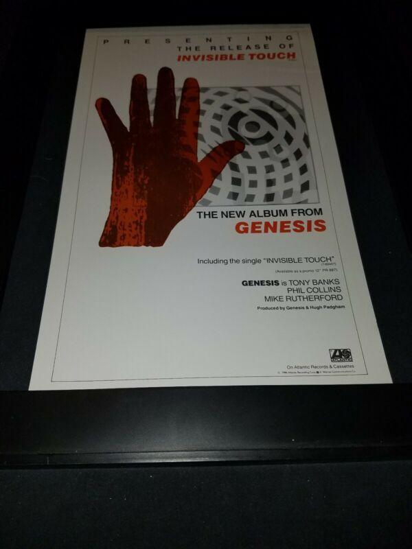 Genesis Invisible Touch Rare Original Radio Promo Poster Ad Framed!