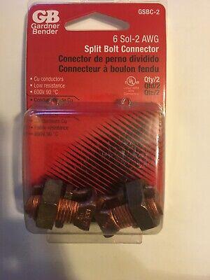 Gardner Bender Copper 6 Sol-2 Awg Split Bolt Connector 2 Pk.