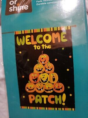 """Brand New Halloween Rain or Shine Welcome to the Patch, Large Porch Flag 28""""x40"""""""