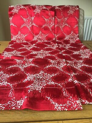 "Vintage Retro 1950s 1960s Curtains 31"" W x 54.5"" L Red Atomic Shiny"