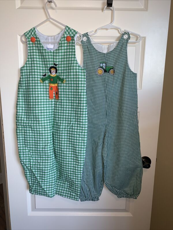Lot Of 2 Boys Smocked Green Check One Piece Outfit Lined Tractor Scarecrown 4T