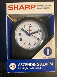 Sharp Quartz Analog Black Ascending Alarm Clock Battery Operated **NEW**