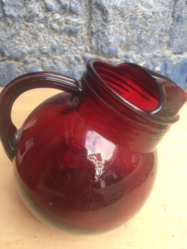 Ruby Red Glass Pitcher