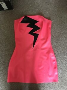 Latex Honour Clothing Neon Pink with Black Lightning Mini Dress Size Small