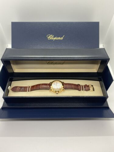 Gorgeous 18k Solid Yellow Gold Chopard Watch 36mm Floating Diamonds - watch picture 1