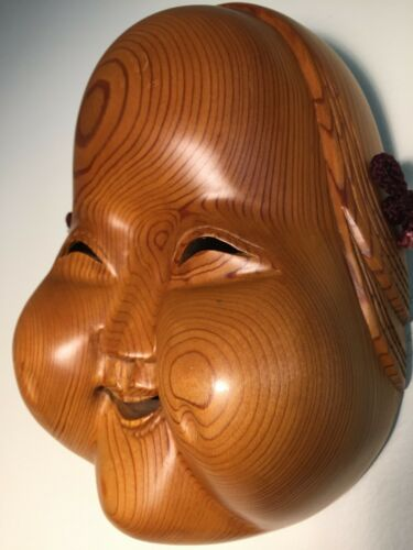 Fine-Quality, Ichii-itto-bori, Yew-Wood, Japanese Okame Wooden/Wood Mask