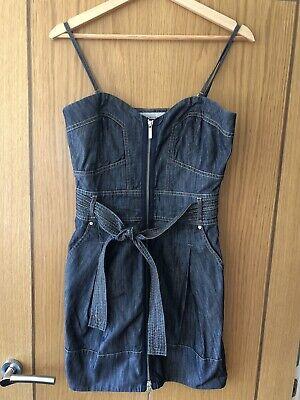 Karen Millen Denim Style Cotton Dress - Size UK 10