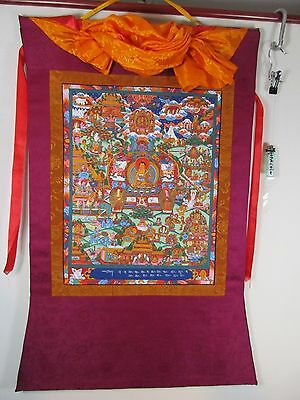 altes Buddha Seide Thangka Gemälde 100 % handgemalt Einzelstück  Tibet 1971 93cm