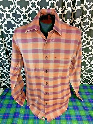 Robert Talbott Orange Maroon Plaid LS Dress Shirt - Sz. M