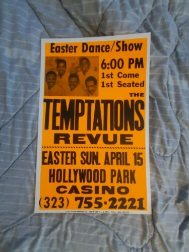 THE TEMPTATIONS REVUE RARE CARDBOARD BOXING STYLE CONCERT POSTER