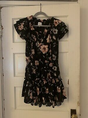 Misa Los Angeles Dress Floral Black Popover Size Small
