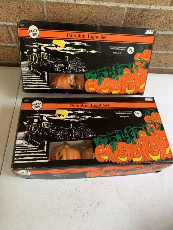 Vintage 1992 Party Fun Halloween Pumpkin Light Set Of 10 (2 Box Sets) Tested