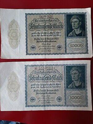 2x 10.000 Mark Reichsbanknote 2 Farben Ausführungen19.01.1922 Schnäppchen!!
