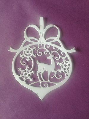 10 x White  (Reindeer Bauble )Christmas Die Cuts