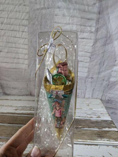 BlumChen Easter cornucopia bunny set fish mini ornament Victorian vintage rare X