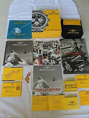ORIGINAL Breitling books, booklets, box, cd case, knife, & extras