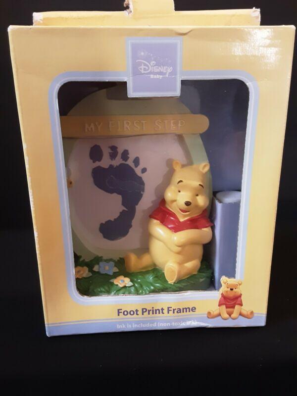 NIB Disney Winnie-the-Pooh My First Step Footprint Frame W/Blue Ink