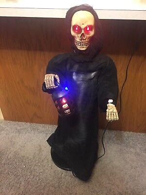 Gemmy Halloween - Talking Grim Reeper - Porch Greeter - Motion Activated - 36 in - Grim Reeper