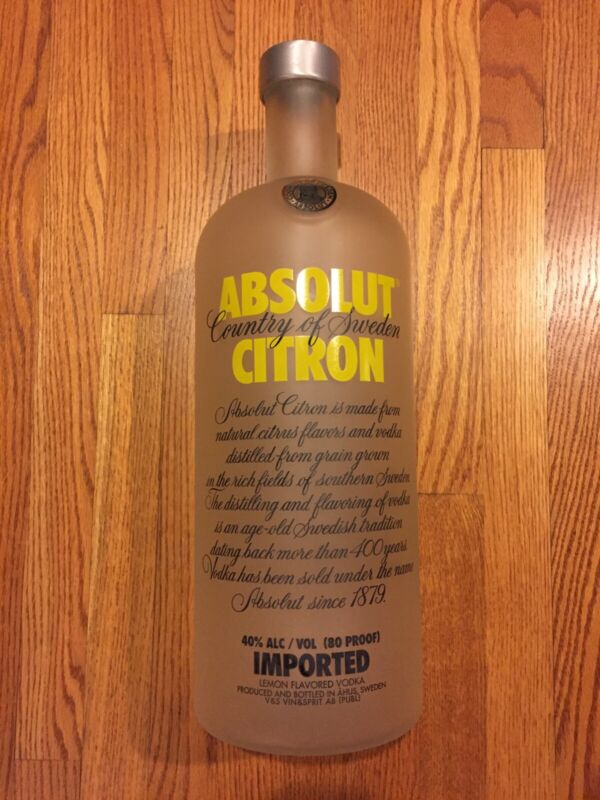 "RARE Absolut Vodka Citron 7 Liter GIANT BIG 20"" Bottle"