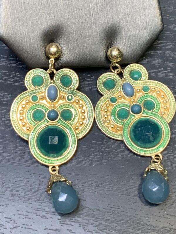 Emerald green gold tone Boho  Bohemian Drop Dangle  Pierced Earring Set