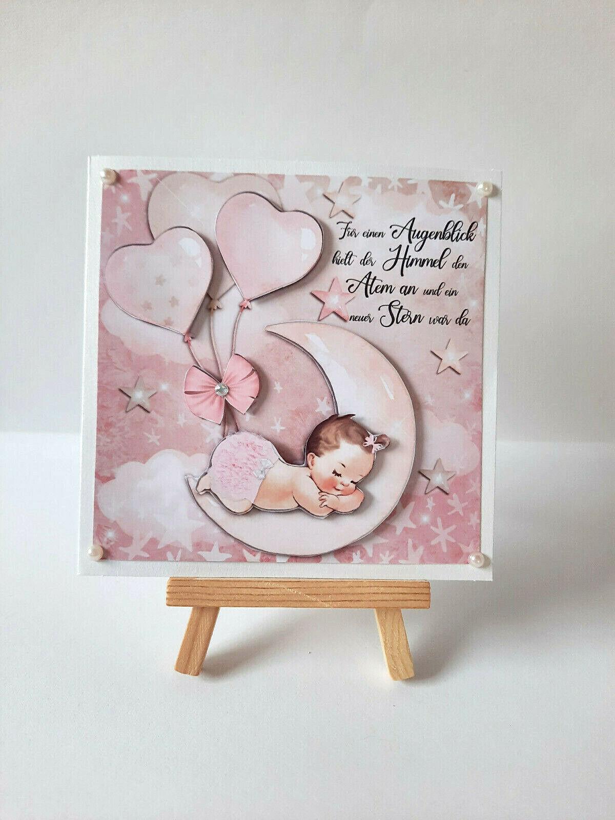 3D Karte Grußkarte Glückwunsch Geburt - Taufe Baby Mädchen  *Handarbeit*