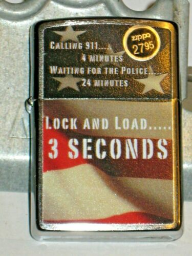 New Windproof ZIPPO USA Lighter 38820 Lock & Load 3 Seconds Call 911, 4 minutes