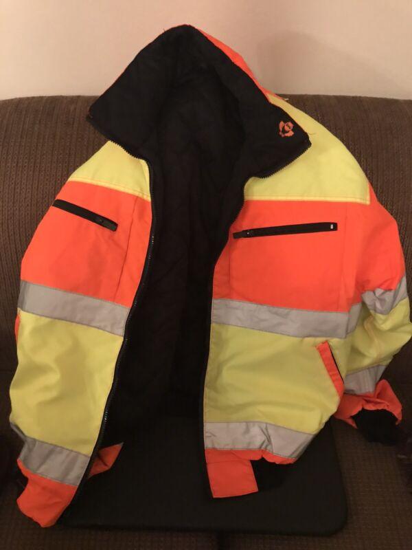 Safety high visibility yellow & OG reflective jacket size Medium Drake Good Lif