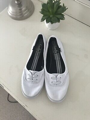 BN New Keds White Plimsole Trainers Classic Style Size 5
